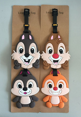 4 Styles New Disney Chip And Dale Squirrel PVC Travel Baggage Luggage Tags