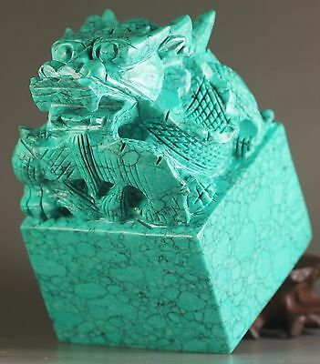 Chinese seals China natual Turquoise jade hand-carved dragon seal statue