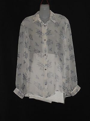 1980's Vintage Long Sleeved Light Chiffon Floral Blouse.