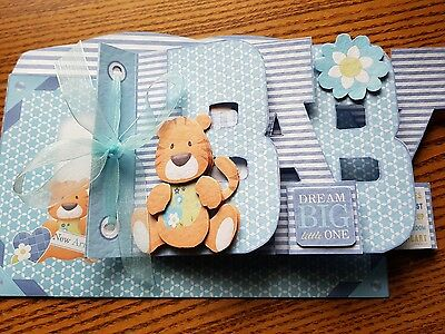 Baby Boy Word Book Card. Hand Made
