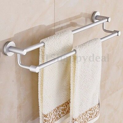 Modern Stainless Steel Bathroom Double Towel Rail Wall Mounted Accessory Chrome