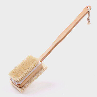 Wooden Shower Body Bath Brush Massager Long Handle sponge Bath Spa Scrubber