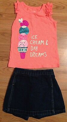 Girls Size 4T Outfit Orange Tank Top and Jean Skort Set *CUTE*