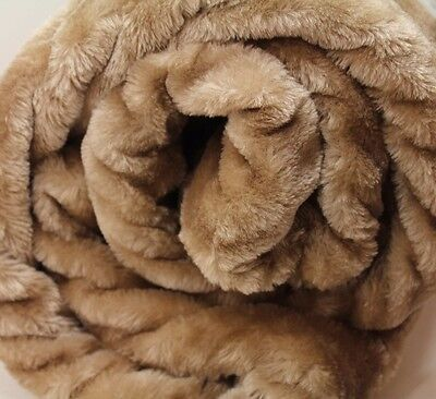 X LARGE Beige Mink FUR Blanket Sofa / Bed Throw Brand New! Soft Jumbo Thick Warm