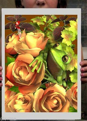 © ART Green Tree Frog Animal in Orange Roses Original Artist Print by Di