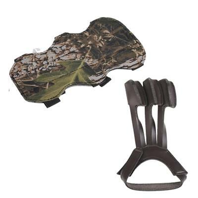 Camo 3-Strap Archery Arm Guard + Leather 3 Finger Protection Glove Hunting