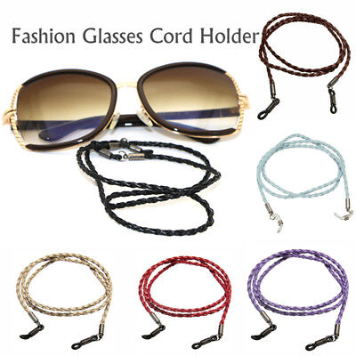 Strong Braided Leather Sunglasses Spectacle Glasses Neck Cord Strap Holder UK