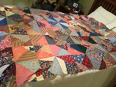 "Vintage Patchwork Triangle Quilt Top c. 1930-40s Handpieced Colorful 80"" X 62"""