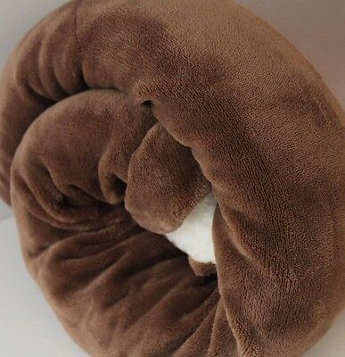 LARGE Chocolate Brown  FUR SHERPA BACK Blanket Sofa Bed Throw 150X200 Thick Warm