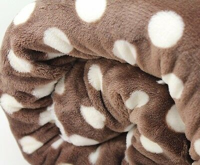 LARGE Brown  Spotty Dot  FUR SHERPA BACK Blanket Sofa Bed Throw 150 X 200 Cute