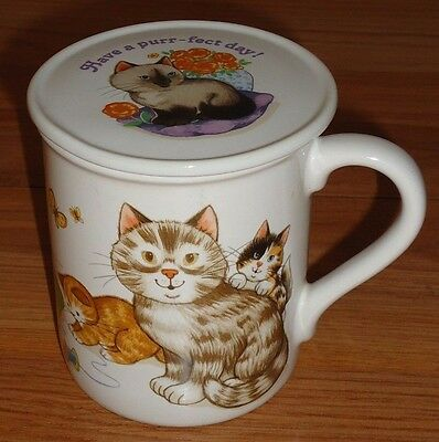 KITTENS Have a Purr-fect Day! ceramic coffee MUG w/lid coaster by Current 1985
