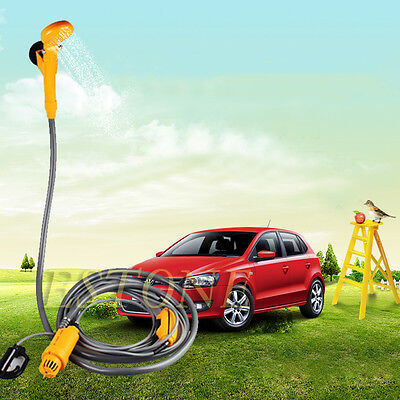 12V Portable Automobile Shower Set Water Pump Travel Trip Camp Caravan Yellow
