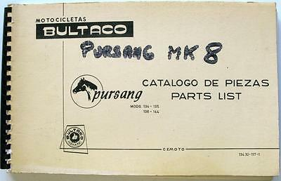 BULTACO Pursang Original Motorcycle Spare Parts List Feb 1975 #134.32-117-1