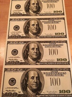 Copy Reproduction 1996 $100 Uncut US Currency Sheet Paper Money 3rd Print Error