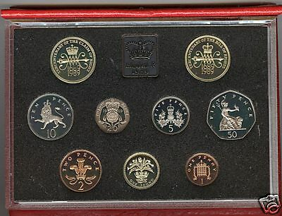 1989 De-Luxe Red Proof Set Of 9 Coins