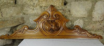 "44"" Antique French Pediment Architectural Crown Walnut Carved Wood - Grapes"
