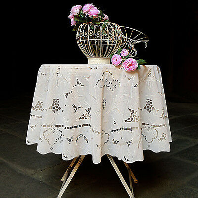Tovaglia in vinile Shabby chic Richelieu Collection Blanc Mariclo' Diametro 160