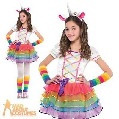 Child Rainbow Unicorn Costume Girls Fantasy Book Week Day Fancy Dress Outfit New