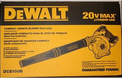NEW DeWalt 20V MAX Li Ion Cordless Compact Jobsite Blower DCE100B in retail Box