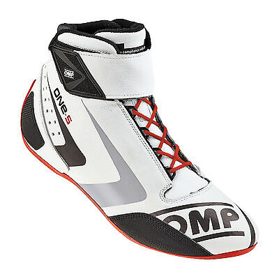 OMP One-S Race Boots (Colour: White, Size: 42 EUR) (OFFICIAL OMP DISTRIBUTOR)