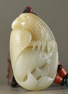 Chinese natural hetian jade hand-carved eagle and fish pendant 2.2 inch