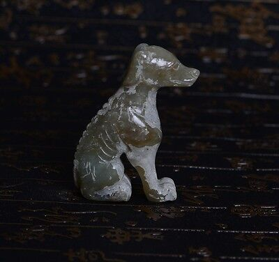 Chinese Qing Dynasty Style Carved Dog Shape Small Ornamental Jade Statue-JX11426