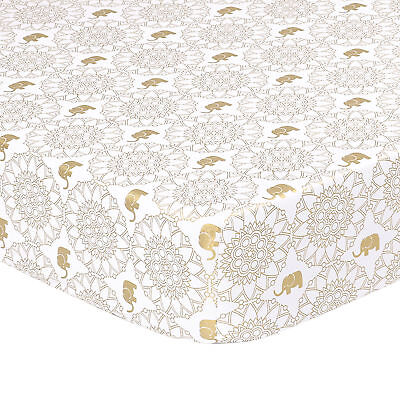 Little Peanut Gold Medallion and Elephant Fitted Crib Sheet by The Peanut Shell