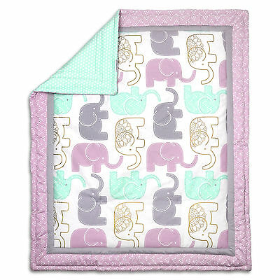 Little Peanut Lilac and Gold Elephant Baby Girl Crib Quilt by The Peanut Shell