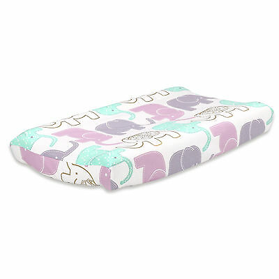 Little Peanut Lilac and Gold Elephant Changing Pad Cover by The Peanut Shell