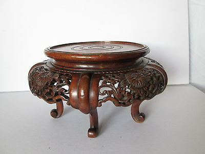 Beautiful Antique Vintage Chinese Oriental Japanese Carved Wood Stand Wooden a/f