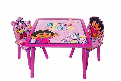 Dora The Explorer Childrens Wooden Table & Two Chairs Set Kids Bedroom Playroom