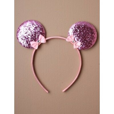 NEW  Pink glitter mickey mouse ears with bow aliceband party hen do fancy dress