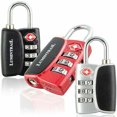 Lumintrail 3pcs TSA Approved Travel Bag Luggage Lock 3 Digit Combination