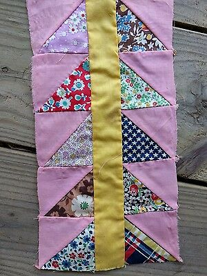 UNKNOWN PATTERN QUILT BLOCKS PINK, 20's-30's era Feedsack