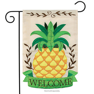 "Pineapple Welcome Applique Garden Flag Summer Embroidered Decorative 13""x18"""