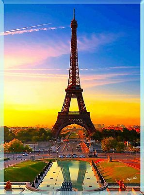 Paris France French Eiffel Tower European Travel Advertisement Poster Art Print