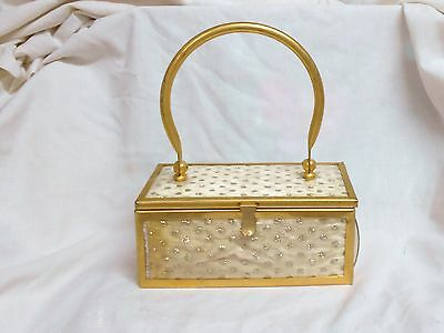 Vintage Lucite Lunch Box Style Purse Gold/polka Dots