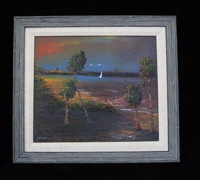 "Florida Highwayman Hof Original Oil Painting By ""chico"" Wheeler Signed 2X Framed"