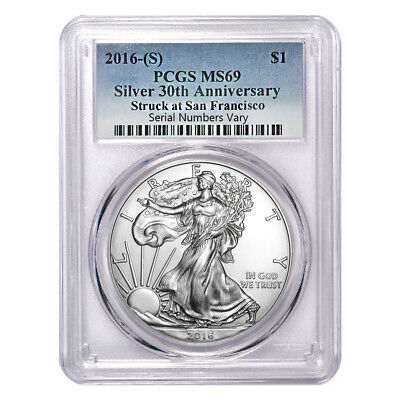 2016 (S) 1 oz Silver American Eagle $1 Coin PCGS MS 69