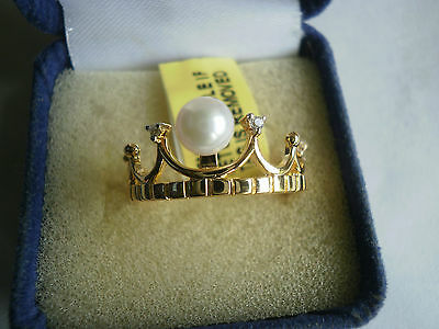 Japanese Akoya Pearl & Topaz 14K Y Gold/925 Princess Crown/Tiara Ring Size M