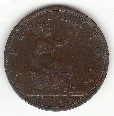 1892 Great Britain Queen Victoria 1 One Farthing.  Nice Grade.