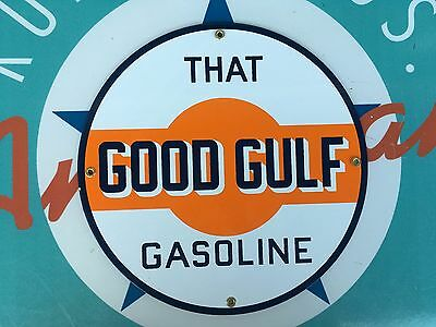 """top quality GOOD GULF """"that good gulf gas"""" porcelain coated 18 GAUGE steel SIGN"""