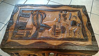 Handcrafted Haitian Carved Wood chest