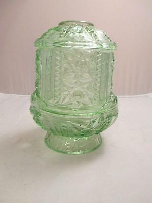"""Vintage Glass Light Green Fairy Light Lamp Stars and Bars Candle Holder 7"""""""