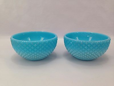 Vintage Set 2 Opaque Blue Opaline Milk Glass Bowl
