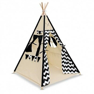 4 Poles Teepee Tent with Storage Bag - Black and White Zig-Zag Design
