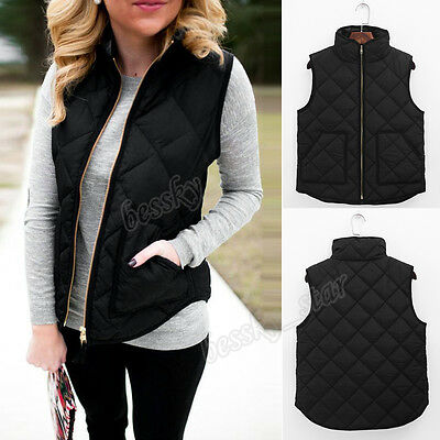 Women Zip Up Pocket Coat Sleeveless Vests Jacket Outwear Waistcoat Outwear CA