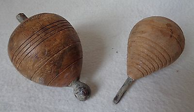 Two Antique Wooden Victorian Whipping Tops, Spinning Tops or 'Trompos'