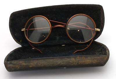 Vintage Antique Round Eye Glasses Spectacles Faux Tortiose Shell Bakelite & Case