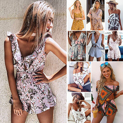 Womens Holiday Mini Playsuit Romper Ladies Jumpsuit Summer Beach Dress UK 6-14